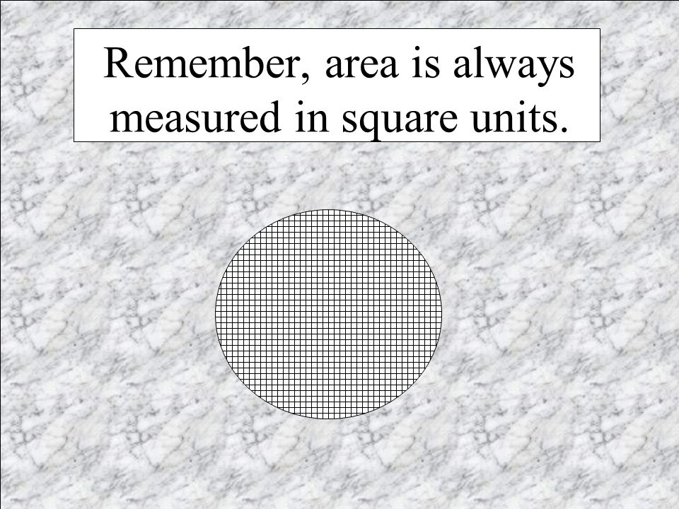 Remember, area is always measured in square units.