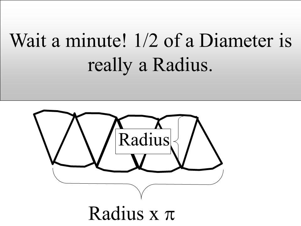 Radius x Radius Wait a minute! 1/2 of a Diameter is really a Radius.
