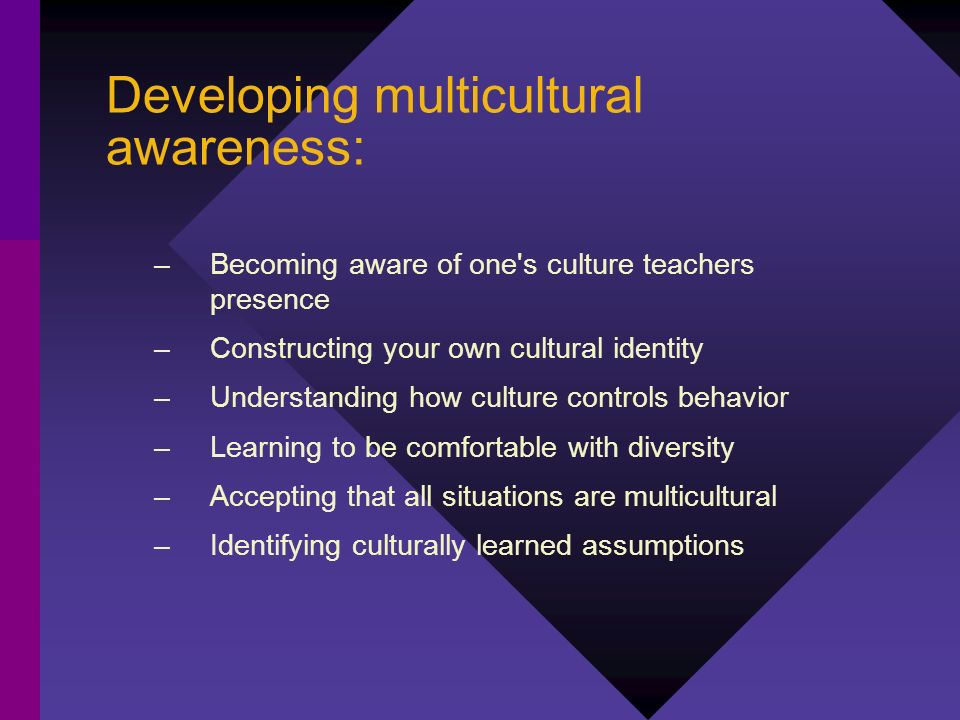 Developing multicultural awareness: –Becoming aware of one's culture teachers presence –Constructing your own cultural identity –Understanding how cul
