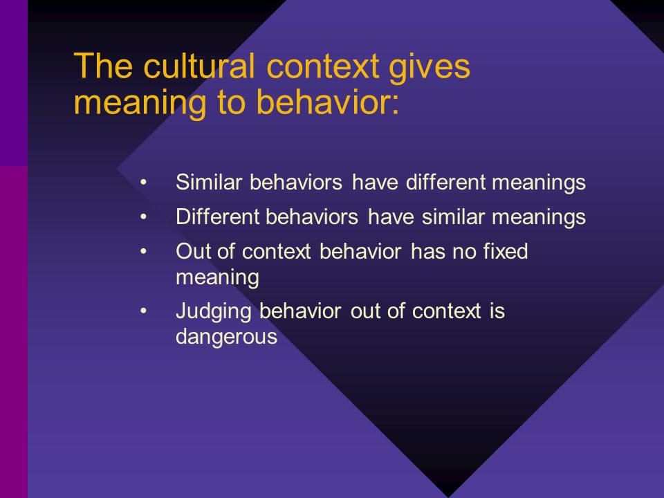The cultural context gives meaning to behavior: Similar behaviors have different meanings Different behaviors have similar meanings Out of context beh