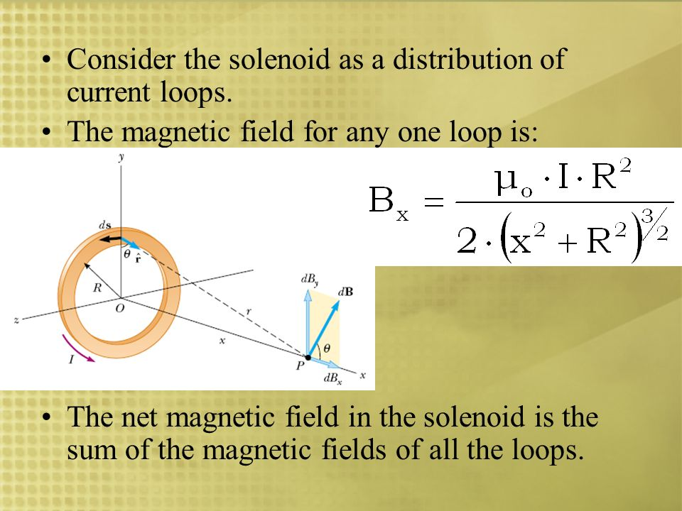 Consider the solenoid as a distribution of current loops. The magnetic field for any one loop is: The net magnetic field in the solenoid is the sum of