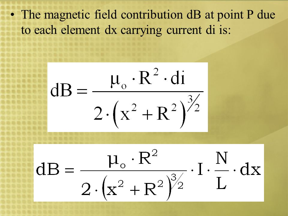 For each element of length dx along the length of the solenoid, the distance x and the angle change.