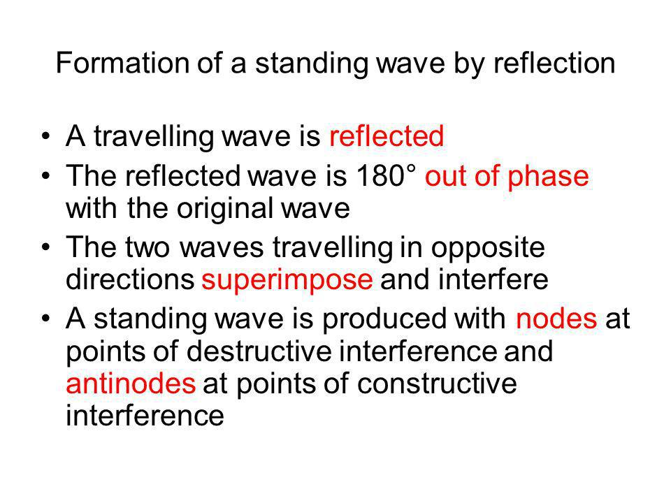 Formation of a standing wave by reflection A travelling wave is reflected The reflected wave is 180° out of phase with the original wave The two waves