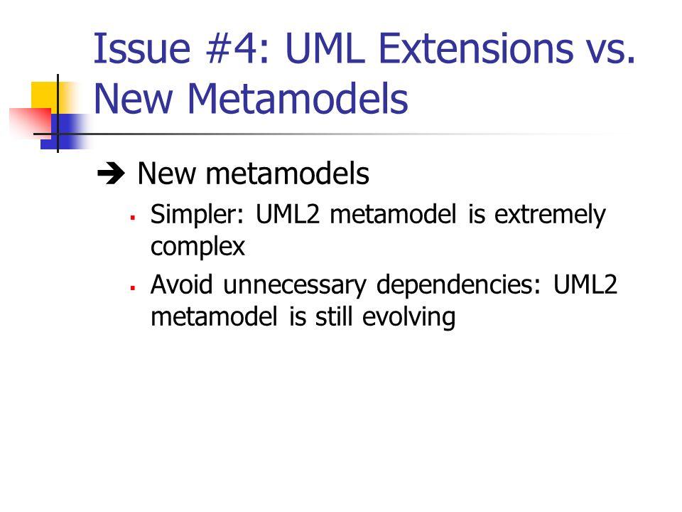 Issue #4: UML Extensions vs. New Metamodels New metamodels Simpler: UML2 metamodel is extremely complex Avoid unnecessary dependencies: UML2 metamodel