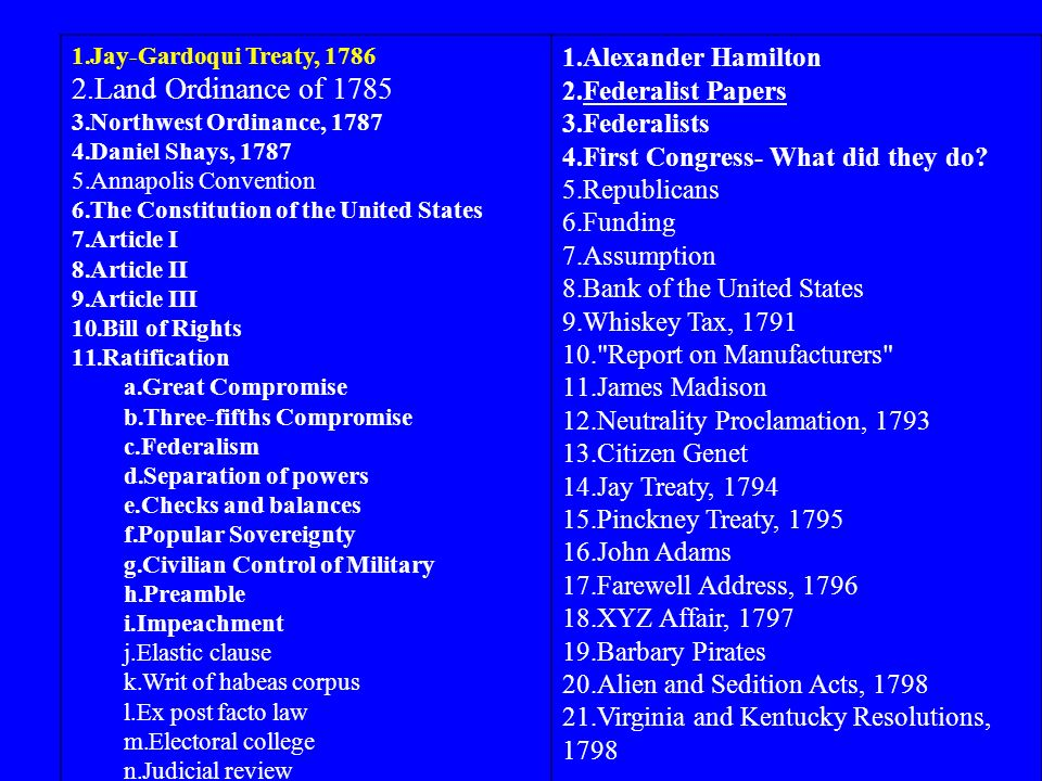 1.Jay-Gardoqui Treaty, 1786 2.Land Ordinance of 1785 3.Northwest Ordinance, 1787 4.Daniel Shays, 1787 5.Annapolis Convention 6.The Constitution of the United States 7.Article I 8.Article II 9.Article III 10.Bill of Rights 11.Ratification a.Great Compromise b.Three-fifths Compromise c.Federalism d.Separation of powers e.Checks and balances f.Popular Sovereignty g.Civilian Control of Military h.Preamble i.Impeachment j.Elastic clause k.Writ of habeas corpus l.Ex post facto law m.Electoral college n.Judicial review 1.Alexander Hamilton 2.Federalist Papers 3.Federalists 4.First Congress- What did they do.
