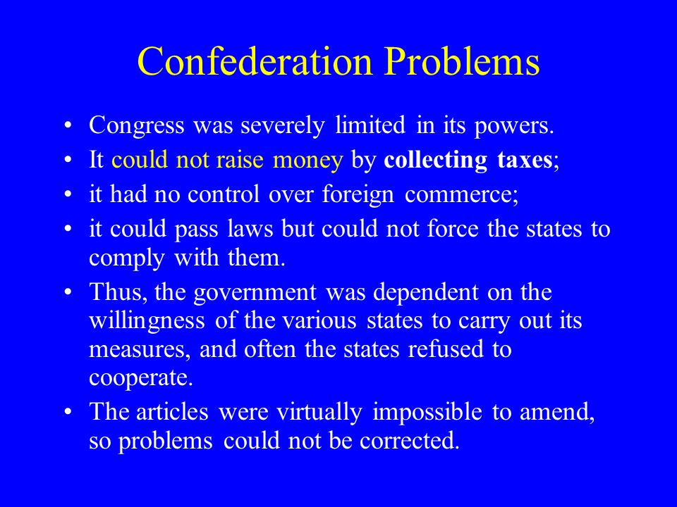 Confederation Problems Congress was severely limited in its powers.