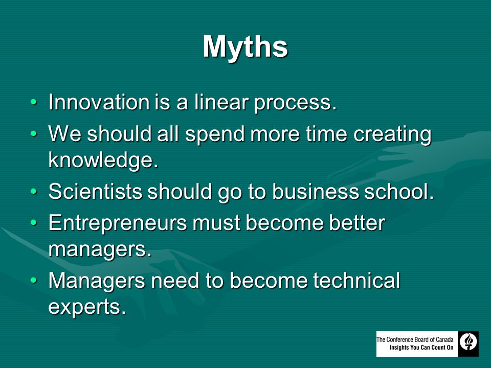 Myths Innovation is a linear process.Innovation is a linear process.
