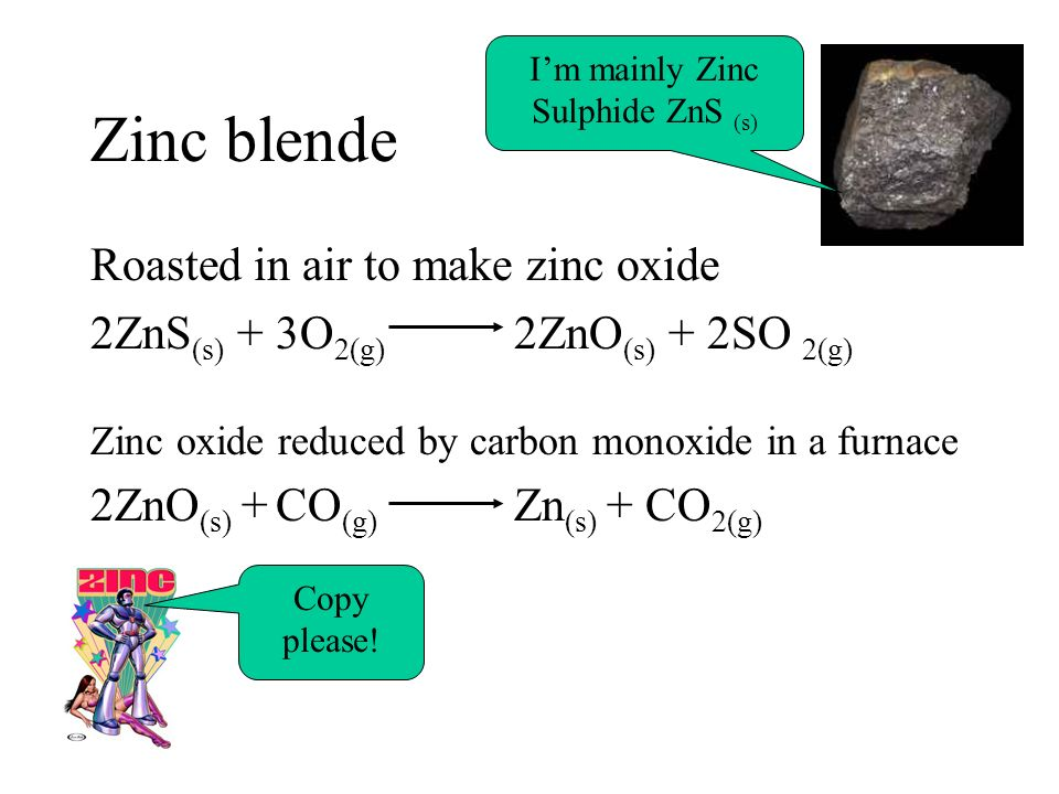 Zinc blende Roasted in air to make zinc oxide 2ZnS (s) + 3O 2(g) 2ZnO (s) + 2SO 2(g) Zinc oxide reduced by carbon monoxide in a furnace 2ZnO (s) + CO
