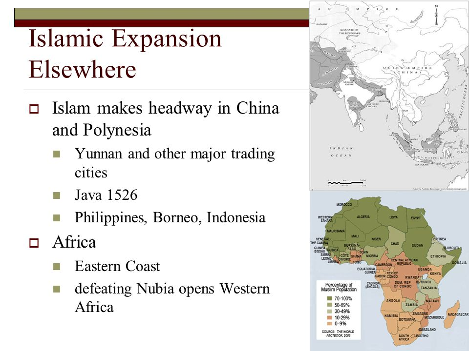Islamic Expansion Elsewhere Islam makes headway in China and Polynesia Yunnan and other major trading cities Java 1526 Philippines, Borneo, Indonesia Africa Eastern Coast defeating Nubia opens Western Africa