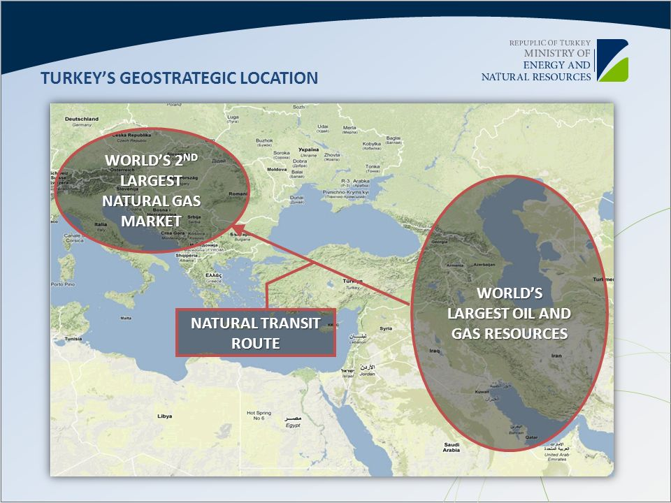 TURKEYS GEOSTRATEGIC LOCATION WORLDS 2 ND LARGEST NATURAL GAS MARKET WORLDS LARGEST OIL AND GAS RESOURCES NATURAL TRANSIT ROUTE