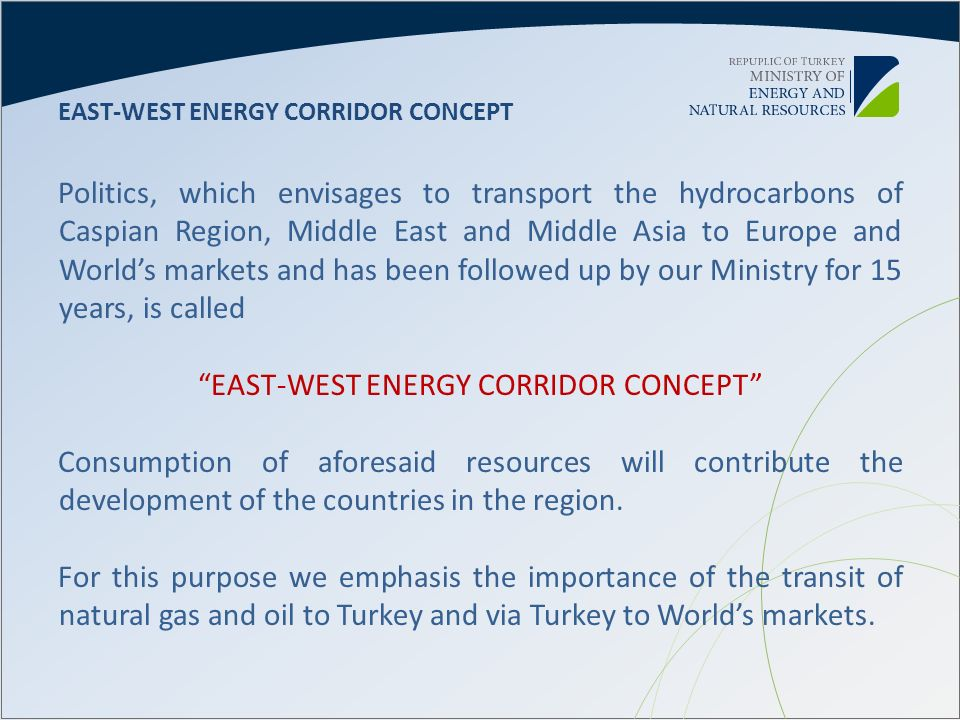 EAST-WEST ENERGY CORRIDOR CONCEPT Politics, which envisages to transport the hydrocarbons of Caspian Region, Middle East and Middle Asia to Europe and