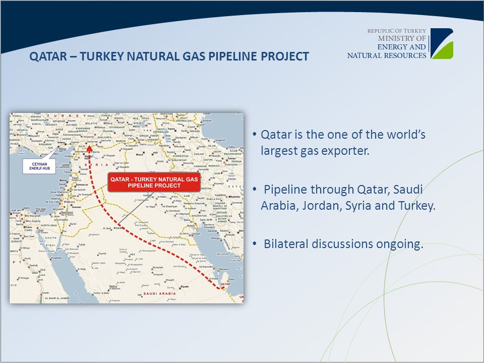 Qatar is the one of the worlds largest gas exporter. Pipeline through Qatar, Saudi Arabia, Jordan, Syria and Turkey. Bilateral discussions ongoing. QA