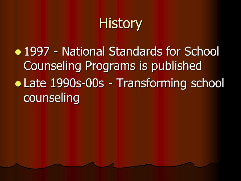 History 1997 - National Standards for School Counseling Programs is published 1997 - National Standards for School Counseling Programs is published La