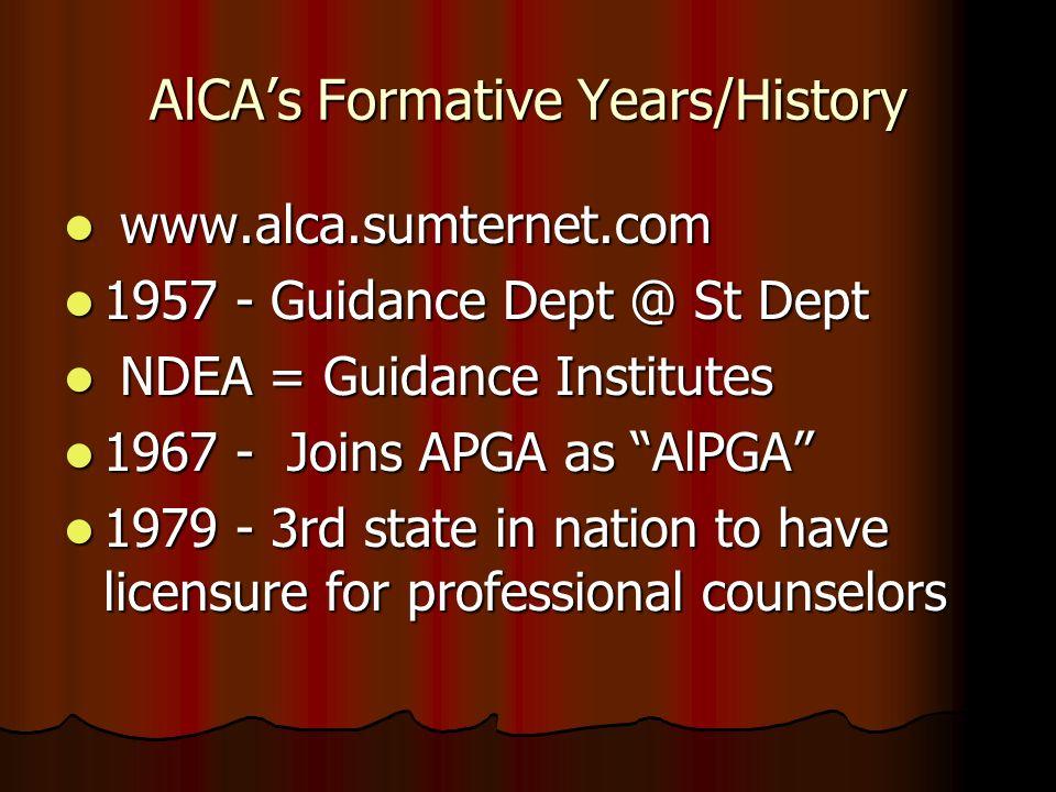 AlCAs Formative Years/History www.alca.sumternet.com www.alca.sumternet.com 1957 - Guidance Dept @ St Dept 1957 - Guidance Dept @ St Dept NDEA = Guida
