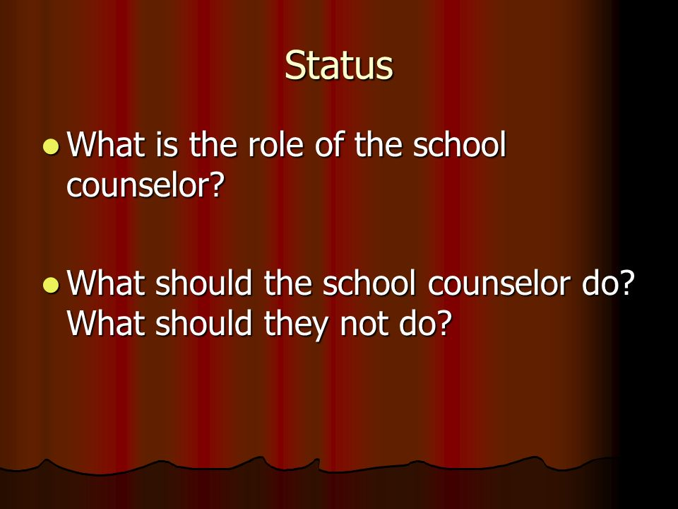 Status What is the role of the school counselor? What is the role of the school counselor? What should the school counselor do? What should they not d