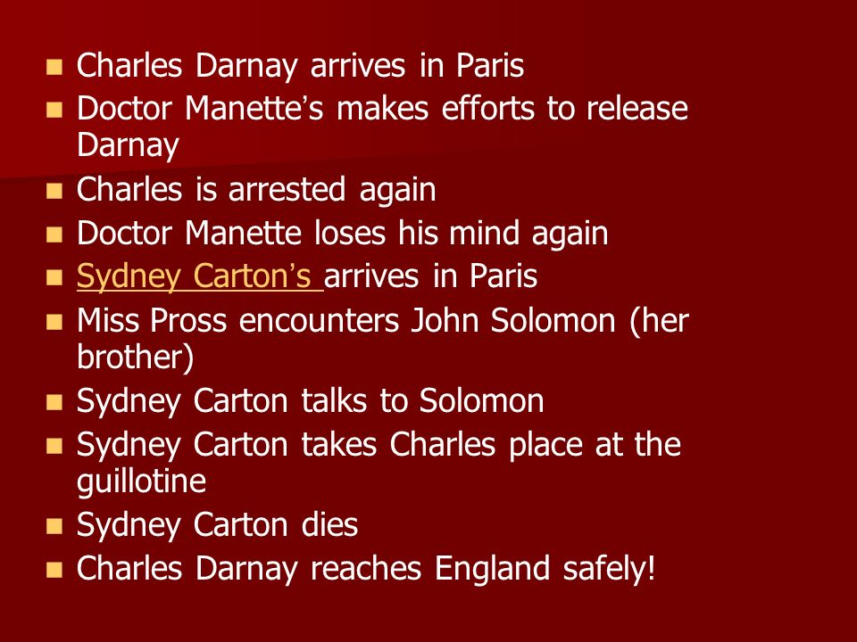 Charles Darnay arrives in Paris Doctor Manette s makes efforts to release Darnay Charles is arrested again Doctor Manette loses his mind again Sydney Carton s arrives in Paris Sydney Carton s Miss Pross encounters John Solomon (her brother) Sydney Carton talks to Solomon Sydney Carton takes Charles place at the guillotine Sydney Carton dies Charles Darnay reaches England safely!