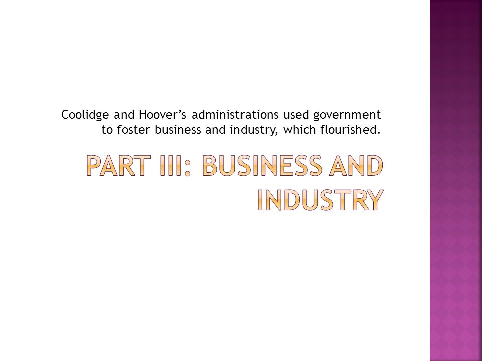 Coolidge and Hoovers administrations used government to foster business and industry, which flourished.