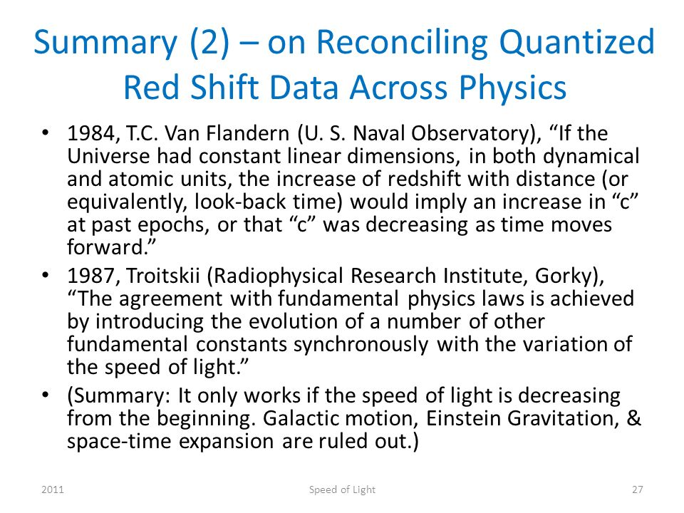 Summary (2) – on Reconciling Quantized Red Shift Data Across Physics 1984, T.C.
