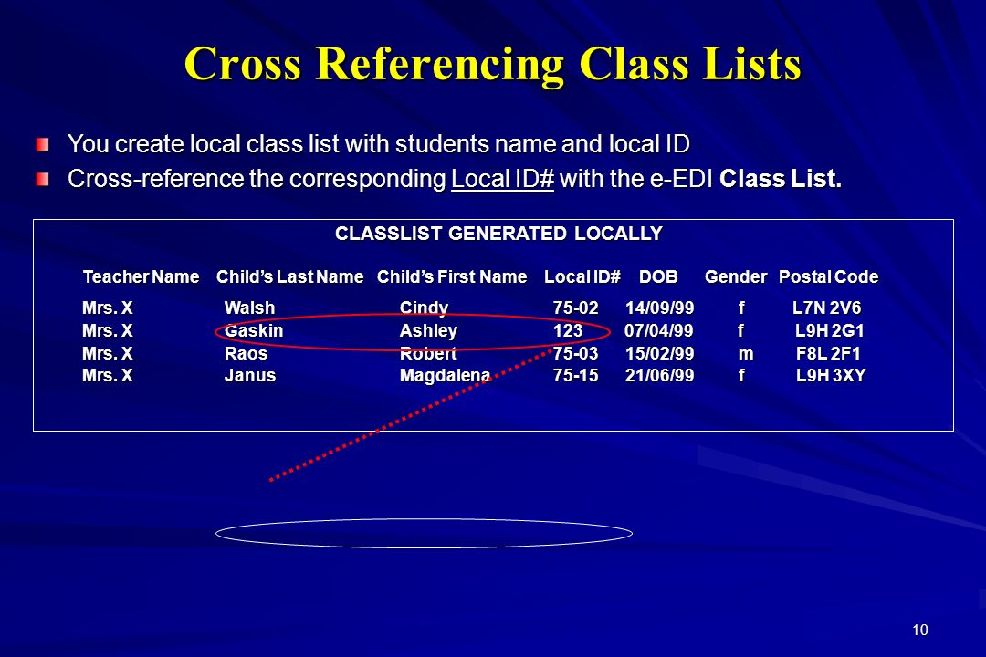 10 CLASSLIST GENERATED LOCALLY Teacher Name Childs Last Name Childs First Name Local ID# DOB Gender Postal Code Mrs. X WalshCindy 75-02 14/09/99 f L7N