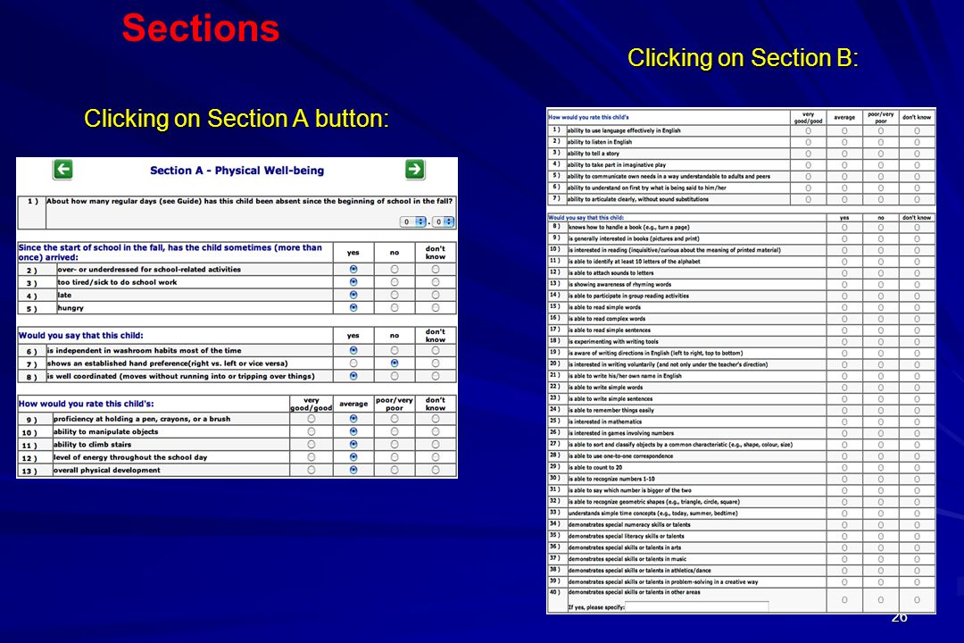 26 Clicking on Section A button: Clicking on Section B: Sections