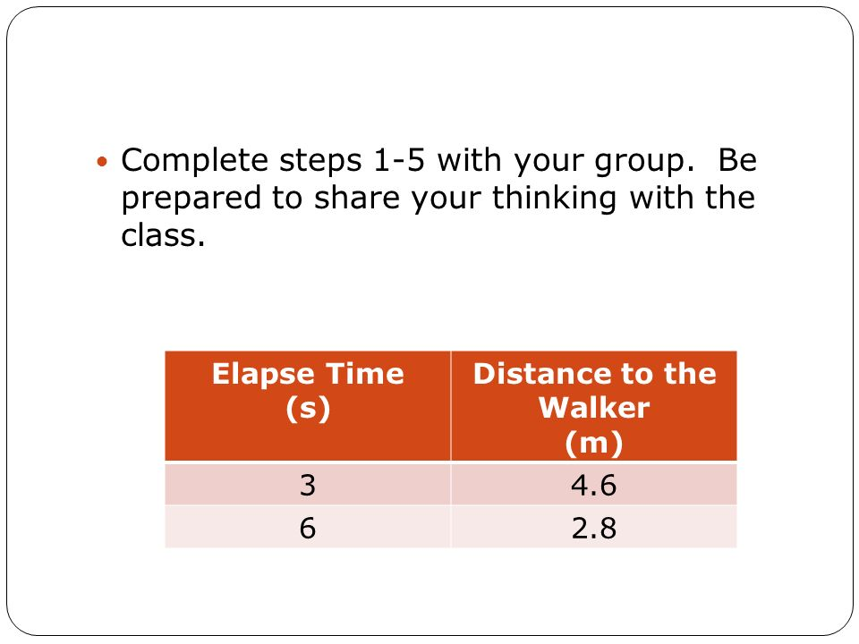 Complete steps 1-5 with your group. Be prepared to share your thinking with the class. Elapse Time (s) Distance to the Walker (m) 34.6 62.8