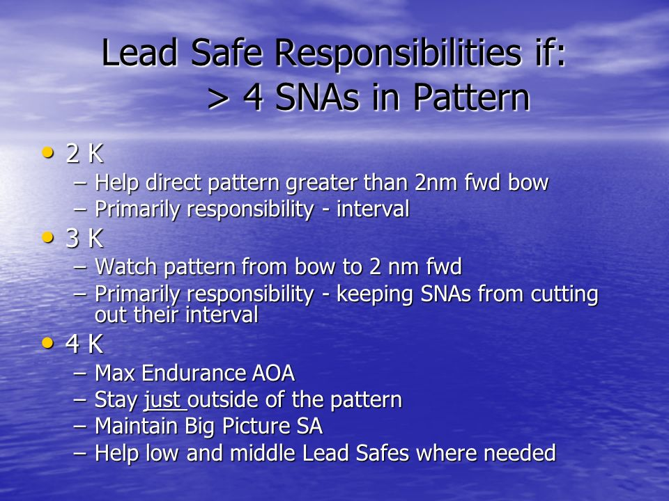 Lead Safe Responsibilities if: > 4 SNAs in Pattern 2 K 2 K –Help direct pattern greater than 2nm fwd bow –Primarily responsibility - interval 3 K 3 K