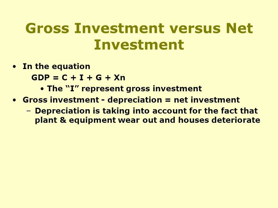 Gross Investment versus Net Investment In the equation GDP = C + I + G + Xn The I represent gross investment Gross investment - depreciation = net investment –Depreciation is taking into account for the fact that plant & equipment wear out and houses deteriorate