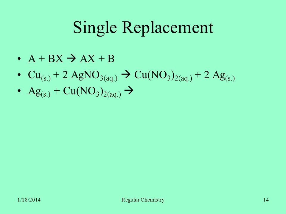 1/18/2014Regular Chemistry14 Single Replacement A + BX AX + B Cu (s.) + 2 AgNO 3(aq.) Cu(NO 3 ) 2(aq.) + 2 Ag (s.) Ag (s.) + Cu(NO 3 ) 2(aq.)