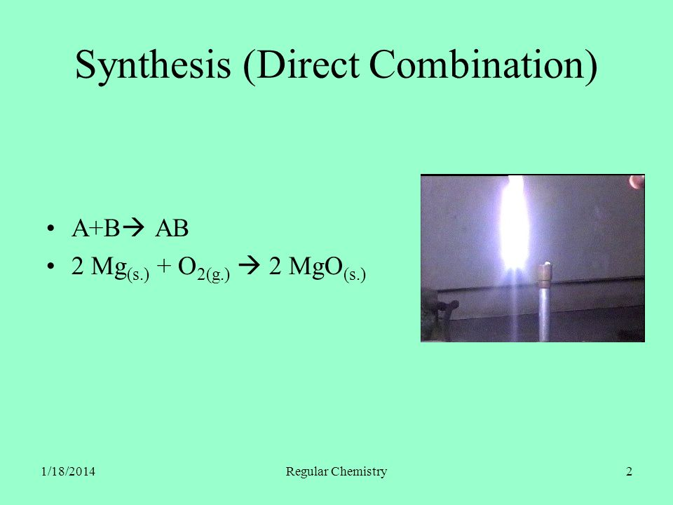 1/18/2014Regular Chemistry2 Synthesis (Direct Combination) A+B AB 2 Mg (s.) + O 2(g.) 2 MgO (s.)