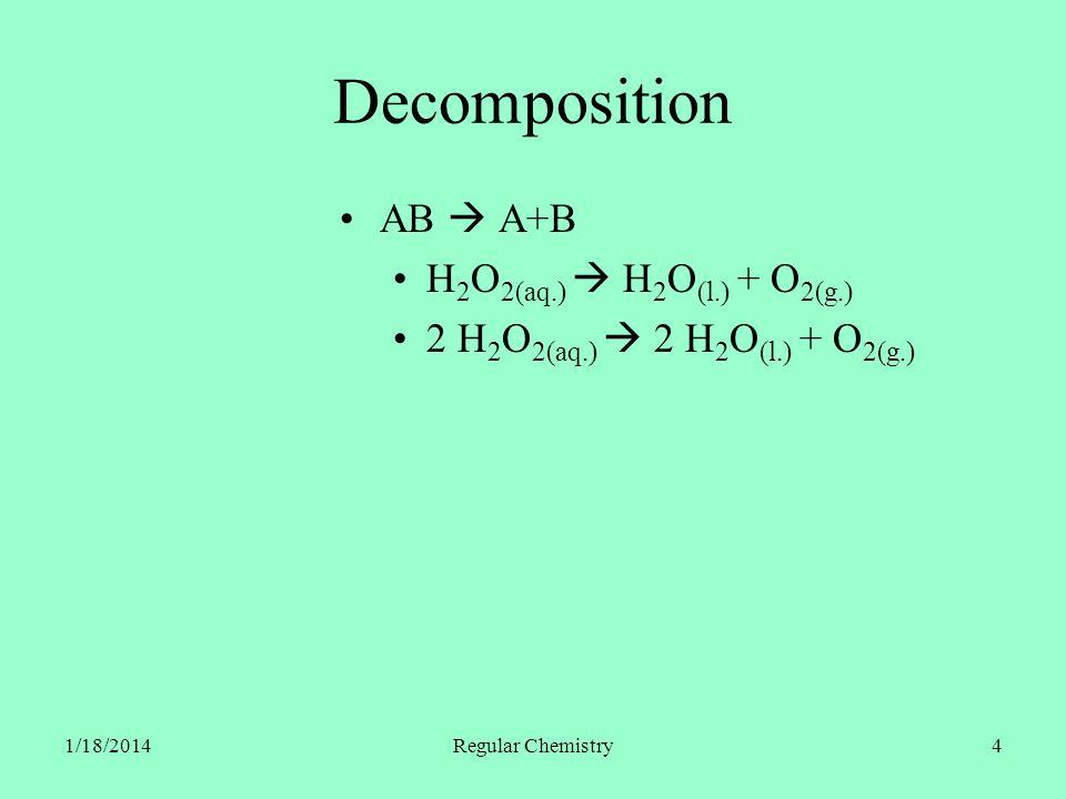 1/18/2014Regular Chemistry5 Single Replacement A + BX AX + B Cu (s.) + 2 AgNO 3(aq.) Cu(NO 3 ) 2(aq.) + 2 Ag (s.)
