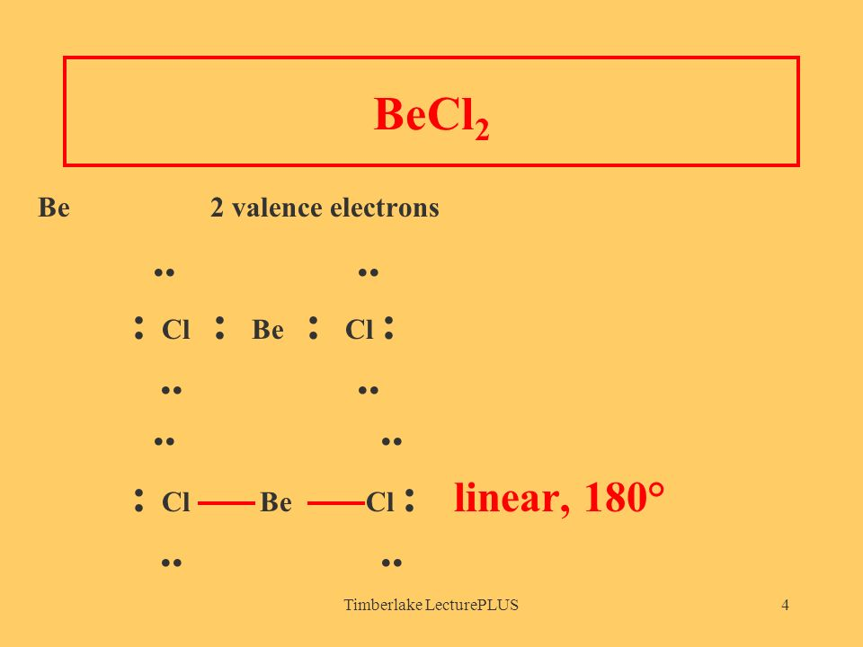 Timberlake LecturePLUS4 BeCl 2 Be 2 valence electrons....