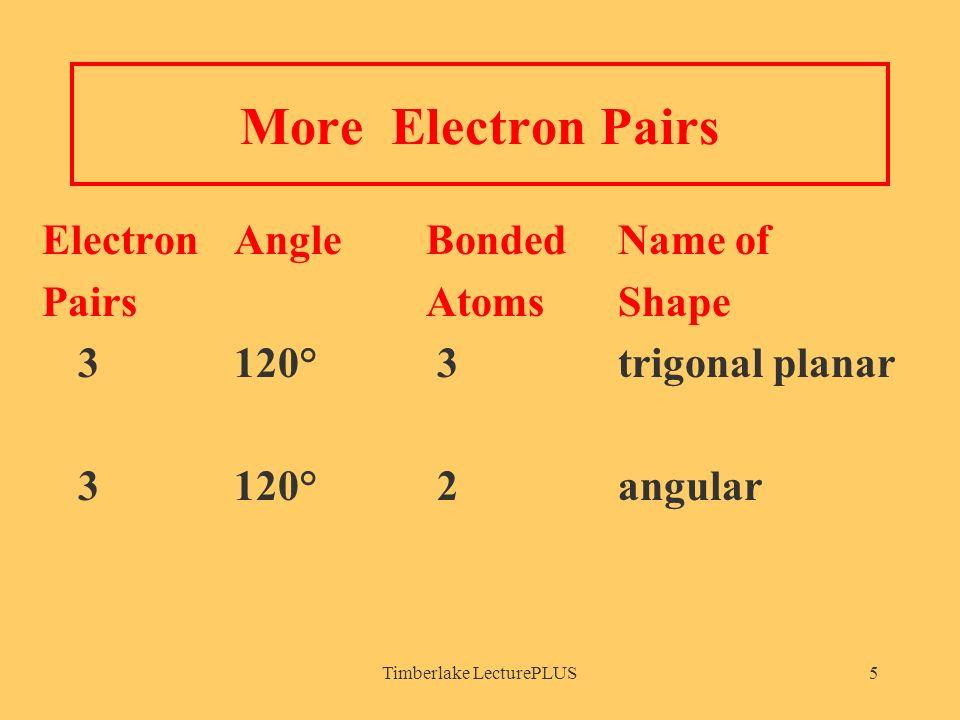 Timberlake LecturePLUS5 More Electron Pairs Electron AngleBonded Name of PairsAtomsShape 3120° 3trigonal planar 3120° 2angular