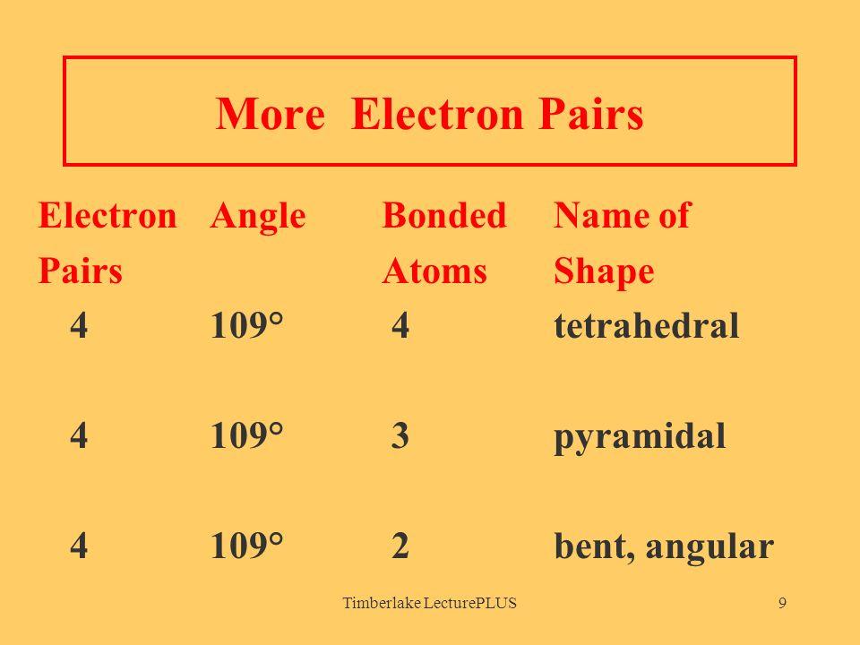 Timberlake LecturePLUS9 More Electron Pairs Electron AngleBonded Name of PairsAtomsShape 4109° 4tetrahedral 4109° 3pyramidal 4109° 2bent, angular