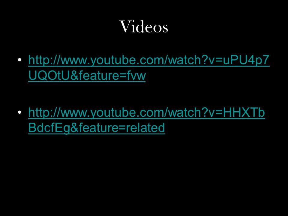 Videos http://www.youtube.com/watch?v=uPU4p7 UQOtU&feature=fvwhttp://www.youtube.com/watch?v=uPU4p7 UQOtU&feature=fvw http://www.youtube.com/watch?v=HHXTb BdcfEg&feature=relatedhttp://www.youtube.com/watch?v=HHXTb BdcfEg&feature=related