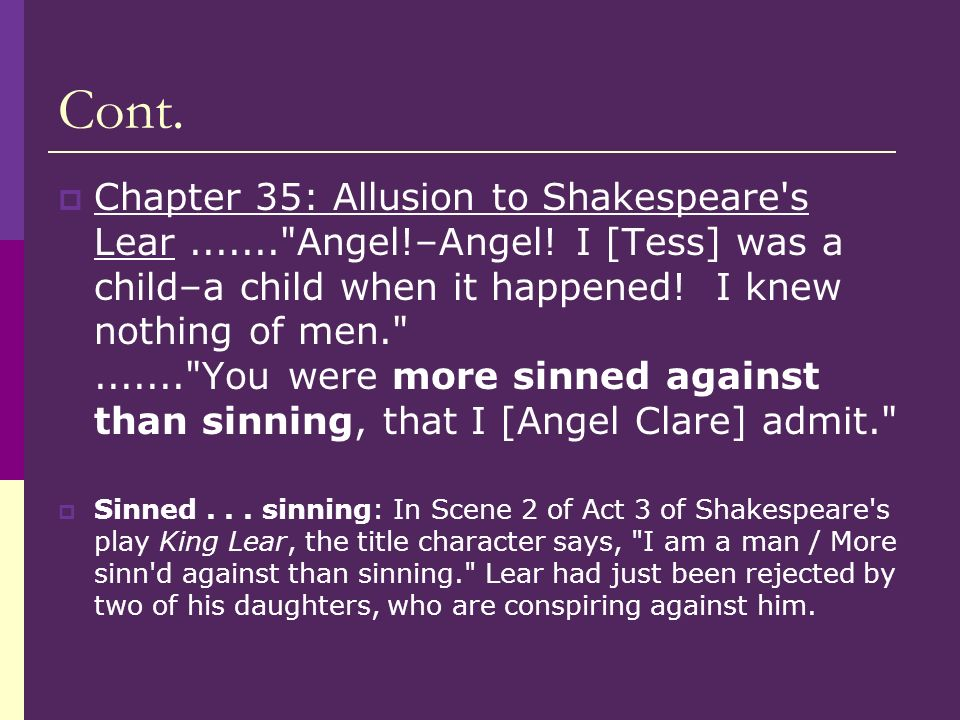 Cont. Chapter 35: Allusion to Shakespeare's Lear.......