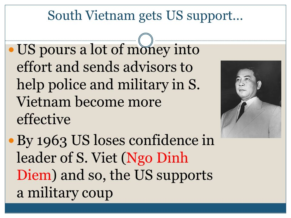Vietnam War 1. Why was America supplying financial aid, advisors, etc to Vietnam? Cold War superpowers (US/USSR) struggling for power in Indochina Was