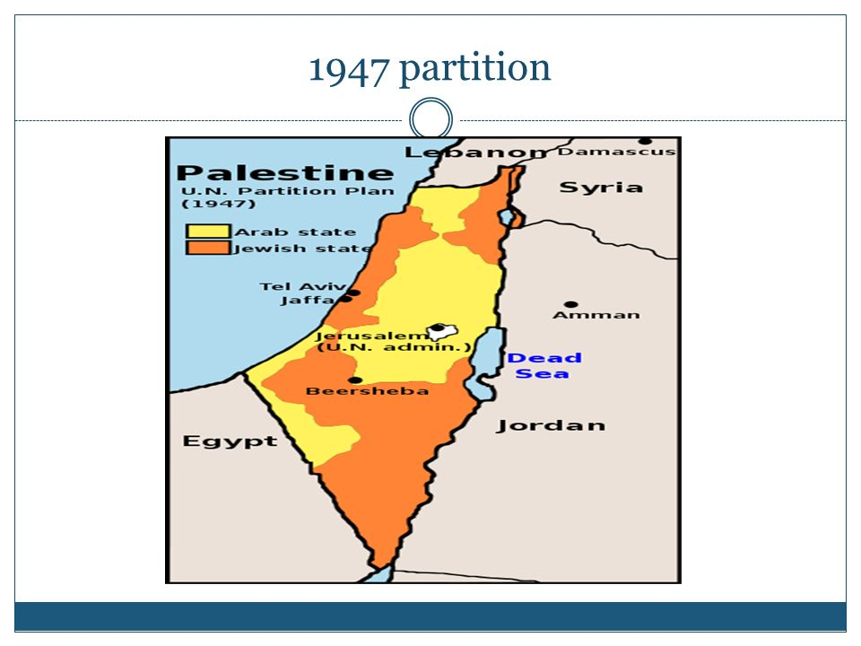 Sets off bitter disputes in the Middle East The division was ordered to accommodate the creation of Israel Division of Palestine after WWII