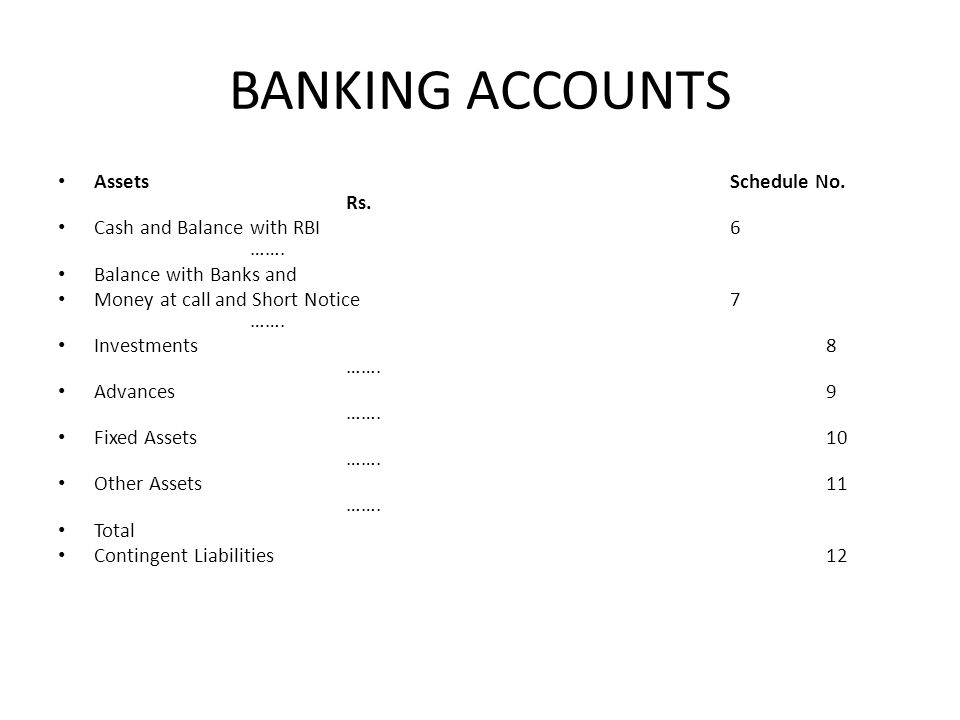 BANKING ACCOUNTS AssetsSchedule No. Rs. Cash and Balance with RBI6 ……. Balance with Banks and Money at call and Short Notice7 ……. Investments8 ……. Adv