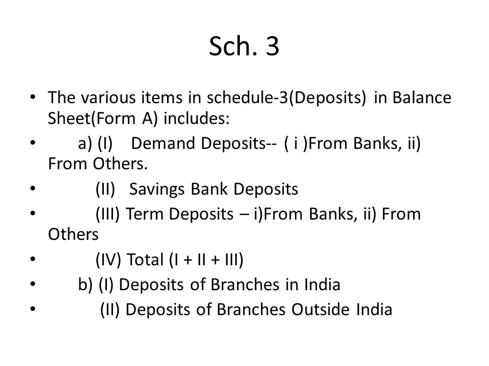 Sch. 3 The various items in schedule-3(Deposits) in Balance Sheet(Form A) includes: a) (I) Demand Deposits-- ( i )From Banks, ii) From Others. (II) Sa