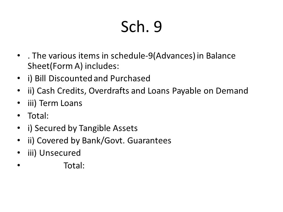 Sch. 9. The various items in schedule-9(Advances) in Balance Sheet(Form A) includes: i) Bill Discounted and Purchased ii) Cash Credits, Overdrafts and