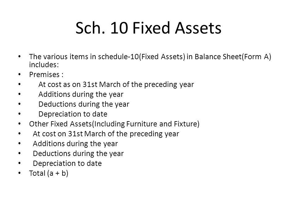 Sch. 10 Fixed Assets The various items in schedule-10(Fixed Assets) in Balance Sheet(Form A) includes: Premises : At cost as on 31st March of the prec