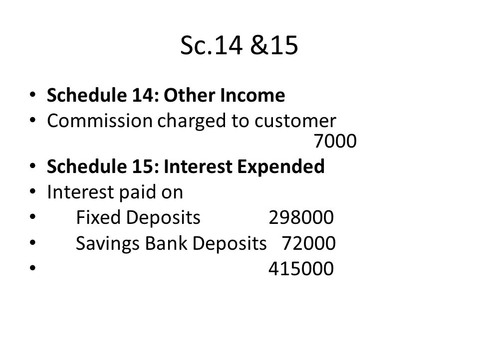Sc.14 &15 Schedule 14: Other Income Commission charged to customer 7000 Schedule 15: Interest Expended Interest paid on Fixed Deposits298000 Savings B
