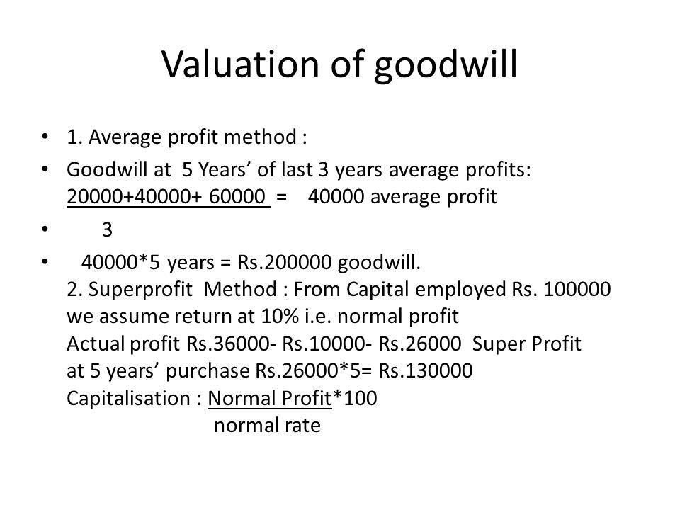 Valuation of goodwill 1. Average profit method : Goodwill at 5 Years of last 3 years average profits: 20000+40000+ 60000 = 40000 average profit 3 4000