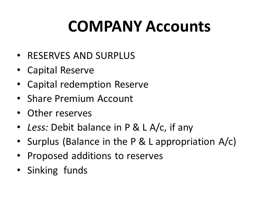 COMPANY Accounts RESERVES AND SURPLUS Capital Reserve Capital redemption Reserve Share Premium Account Other reserves Less: Debit balance in P & L A/c