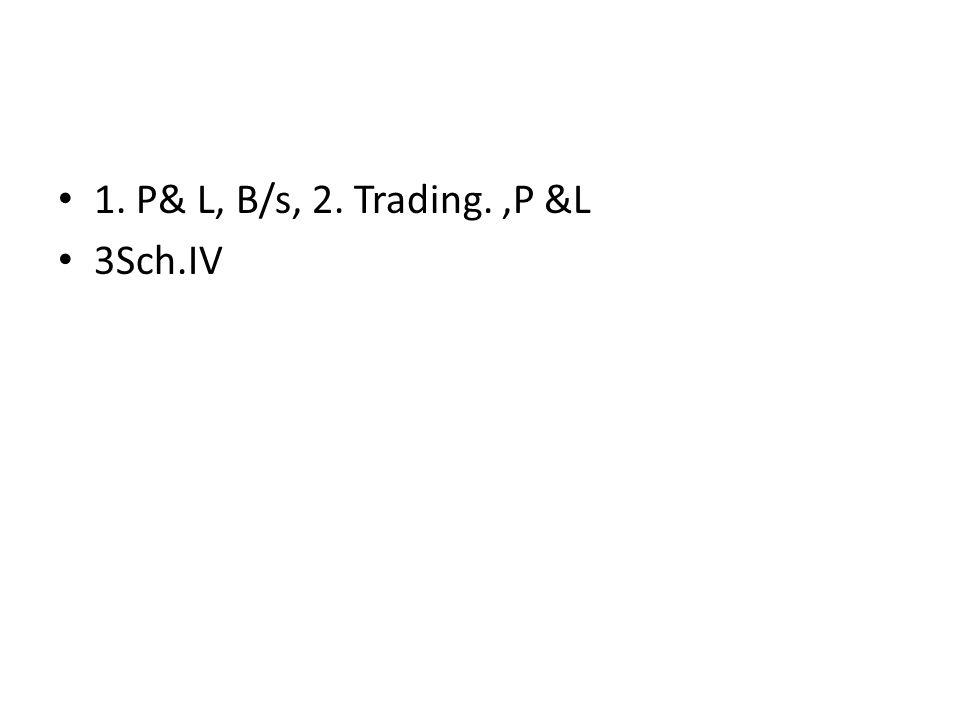 1. P& L, B/s, 2. Trading.,P &L 3Sch.IV