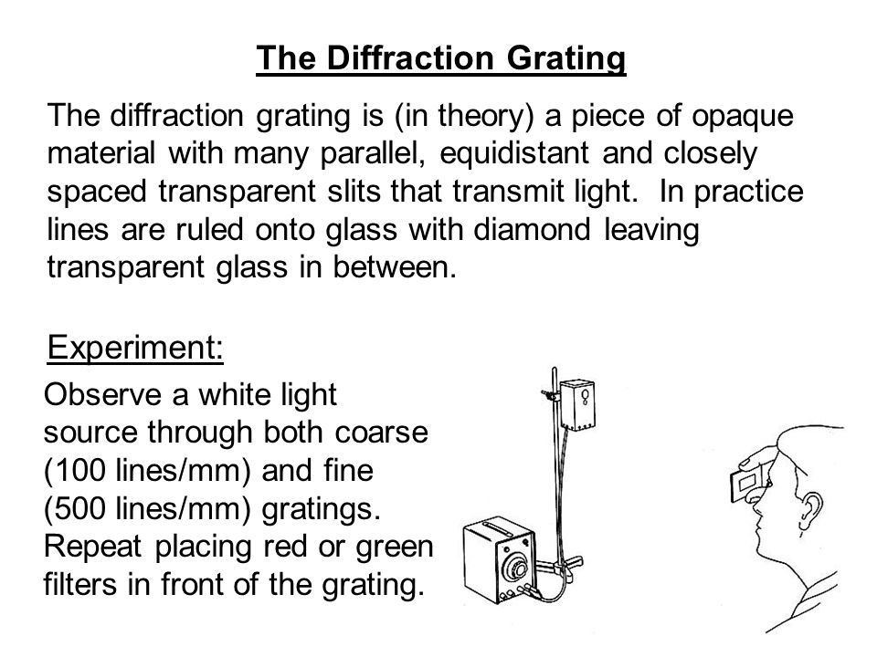 The Diffraction Grating The diffraction grating is (in theory) a piece of opaque material with many parallel, equidistant and closely spaced transpare