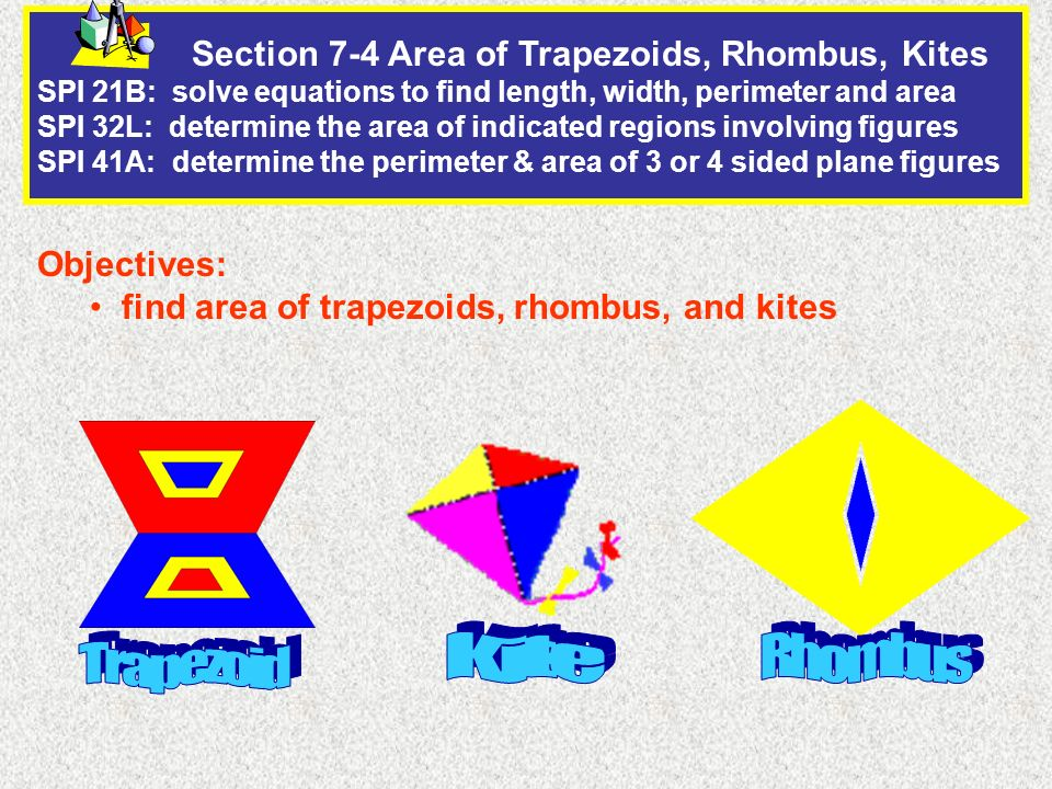 Section 7-4 Area of Trapezoids, Rhombus, Kites SPI 21B: solve equations to find length, width, perimeter and area SPI 32L: determine the area of indicated regions involving figures SPI 41A: determine the perimeter & area of 3 or 4 sided plane figures Objectives: find area of trapezoids, rhombus, and kites