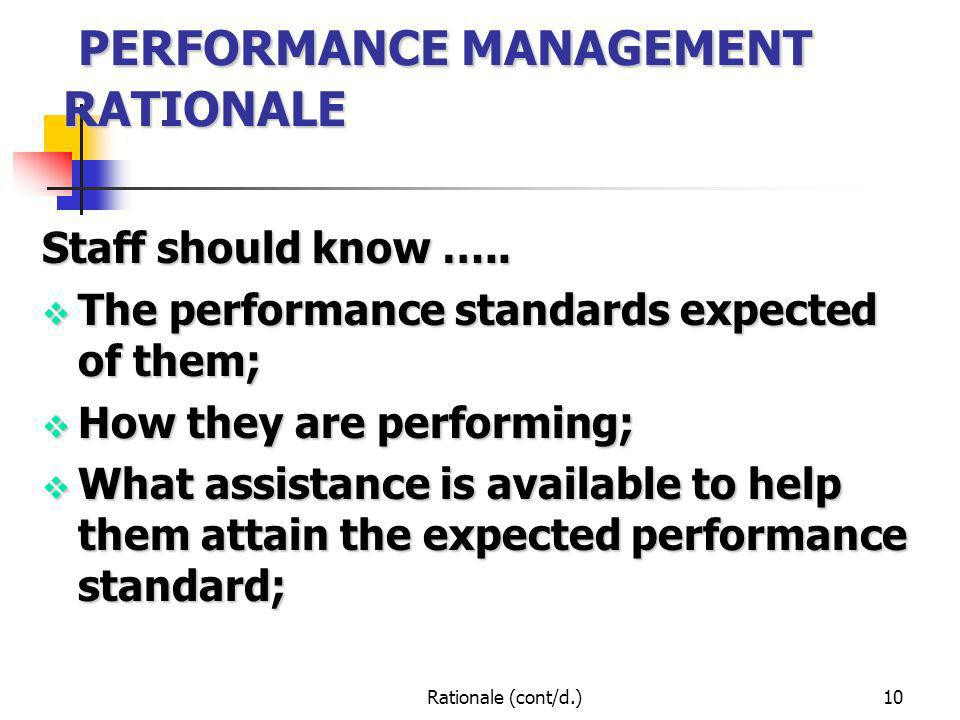 Rationale (cont/d.)10 PERFORMANCE MANAGEMENT RATIONALE PERFORMANCE MANAGEMENT RATIONALE Staff should know ….. The performance standards expected of th
