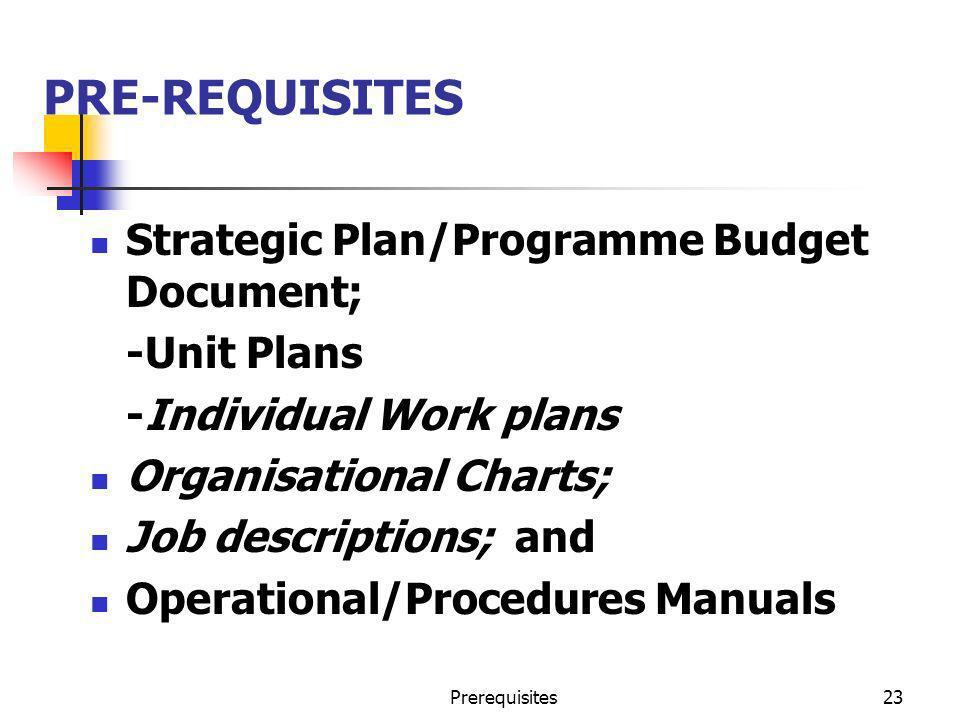 Prerequisites23 PRE-REQUISITES Strategic Plan/Programme Budget Document; -Unit Plans -Individual Work plans Organisational Charts; Job descriptions; a