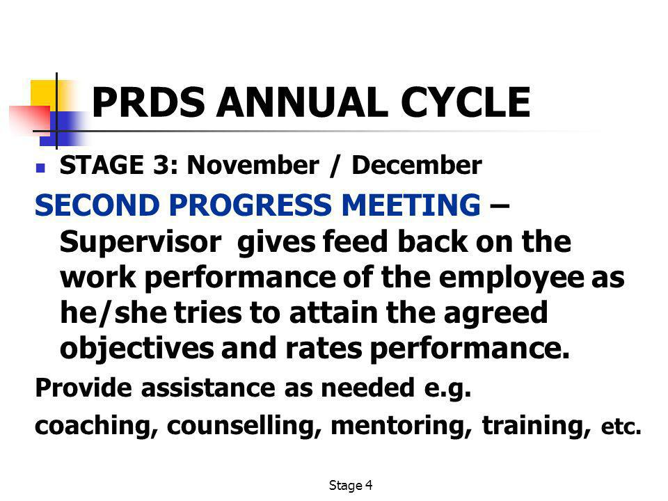 Stage 4 PRDS ANNUAL CYCLE STAGE 3: November / December SECOND PROGRESS MEETING – Supervisor gives feed back on the work performance of the employee as